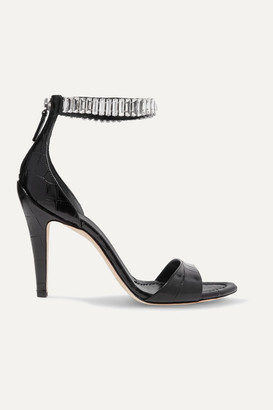Chloé Crystal-embellished Croc-effect Leather Sandals - Black