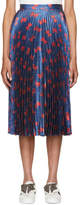 Gucci Blue and Red Lurex Bow Plissé Skirt