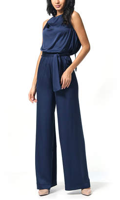 Anette Women's Jumpsuits Navy - Navy Blouson Tie-Waist Silk-Blend Jumpsuit - Women & Plus