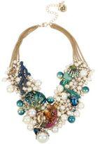 Betsey Johnson Glitter Reef Mermaid & Sea Shell Shaky Pearl Mesh Necklace