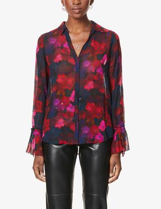 Paige Abriana floral-print crepe shirt