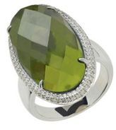 Lord & Taylor Sterling Silver Vesuvianite and Diamond Ring