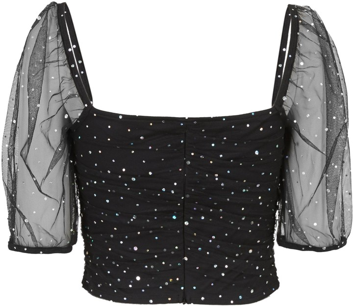 Thumbnail for your product : New Look Ruched Mesh Diamante Top