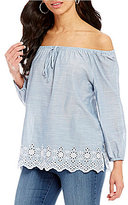NYDJ Off-The-Shoulder Embroidered Detail Top