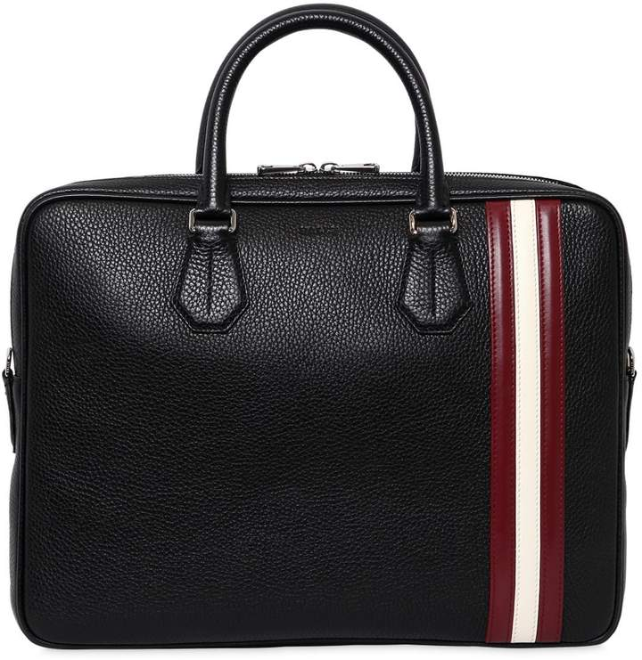 Bally Striped Pebbled Leather Briefcase