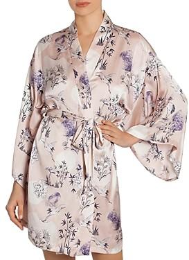 Midnight Bakery Floral Print Satin Wrap Robe