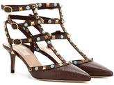 Valentino Garavani Rockstud Rolling leather kitten-heel pumps