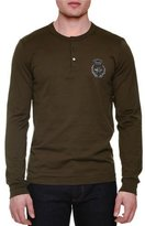 Dolce & Gabbana Embroidered-Crown Long-Sleeve Henley Shirt, Olive
