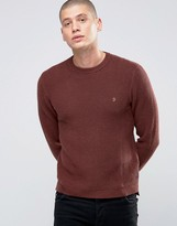 Farah Sweater With Rib In Slim Fit Red