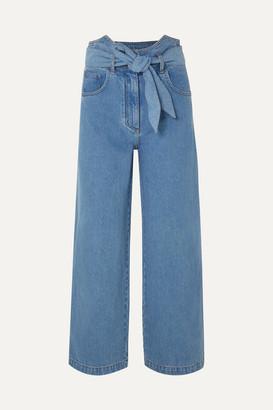 Nanushka Cropped High-rise Wide-leg Jeans - Mid denim