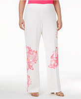 INC International Concepts Plus Size Floral-Print Trousers, Created for Macy's
