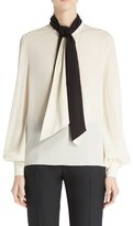 Lanvin Women's Bicolor Crepe De Chine Blouse With Detachable Scarf