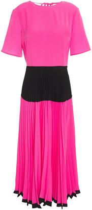 Markus Lupfer Jasmine Color-block Pleated Crepe De Chine Midi Dress