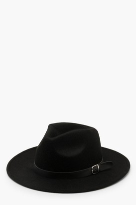 boohoo Fedora Hat With Buckle Trim