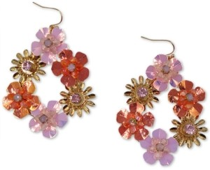 INC International Concepts Inc Gold-Tone Crystal & Bead Multicolor Flower Drop Earrings, Created for Macy's
