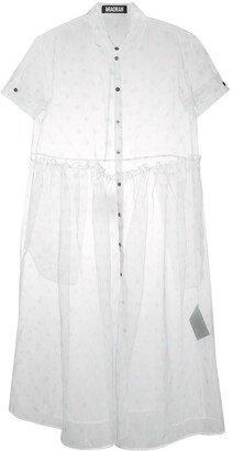 Miaoran Polka-Dot Chiffon Shirt Dress