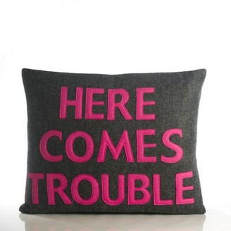 Alexandra Ferguson House Rules Here Comes Trouble Throw Pillow Color: Cream / Turquoise