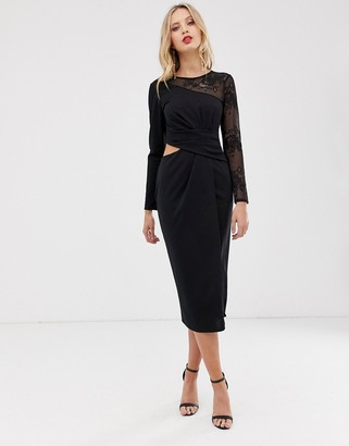 Asos Design DESIGN midi pencil dress with cut out and lace insert