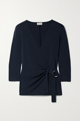 By Malene Birger Shanelle Stretch-ponte Wrap Top - Navy