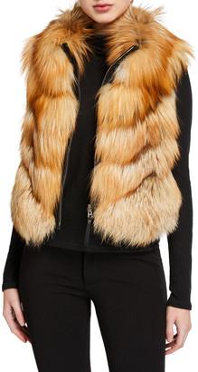 Gorski Nylon & Fox Fur Reversible Chevron Vest