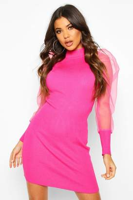 boohoo Organza Mesh Puff Sleeve Mini Dress