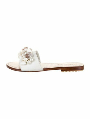 Mystique Leather Beaded Accents Slides White