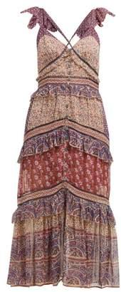 Sea Bella Sleeveless Ruffled Cotton Dress - Womens - Purple
