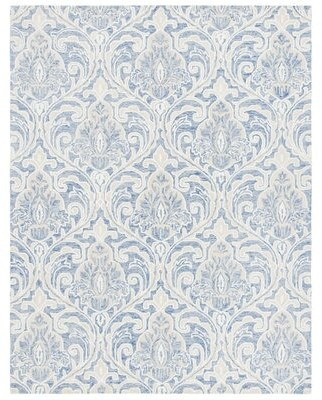 Bungalow Rose Mirador Ikat Handmade Tufted Wool Ivory/Gray Area Rug Rug Size: Rectangle 8' X 10'