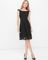 White House Black Market Off-The-Shoulder Black Lace Fit-and-Flare Dress