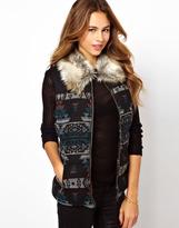 Glamorous Aztek Padded Gilet With Faux Fur Collar
