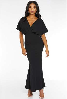 Quiz Petite Black Batwing V Neck Maxi Dress