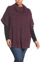 Sejour Cowl Neck Poncho Style Sweater (Plus Size)
