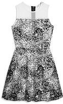 Aqua Girls' Flocked Floral Mesh Overlay Dress, Big Kid - 100% Exclusive