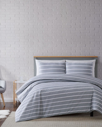 Truly Soft Maddow Stripe Grey 3Pc Duvet Cover Set