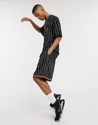 Karl Kani Signature Mesh pinstripe shorts in black