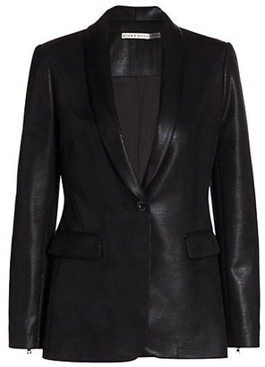 Alice + Olivia Macey Shawl Collar Vegan Leather Blazer