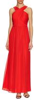 Shoshanna Silk Criss Cross Pleat Maxi Dress