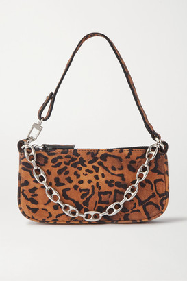 BY FAR Rachel Mini Chain-embellished Leopard-print Suede Shoulder Bag - Leopard print
