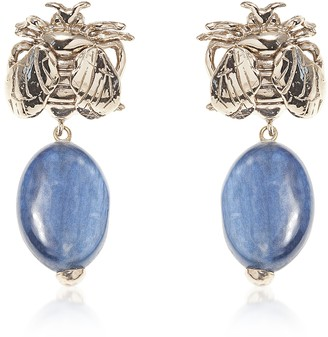Bee Bronze Earrings w/ White Agate