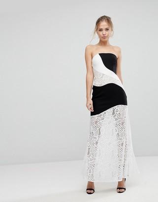 Aijek Maxi Dress With Monochrome And Lace Detail-Multi