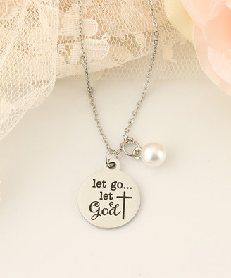 Swarovski Designs By Karamarie Designs by KaraMarie Women's Necklaces - Stainless Steel 'Let Go Let God' Pendant Necklace With Crystal Pearls