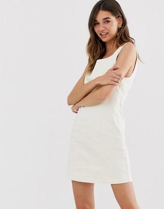 Monki cord sleeveless mini shift dress in off white
