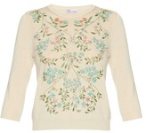 RED Valentino Embellished-floral cotton-blend sweater