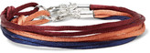 Rubinacci - Set Of Three Silk Silver-tone Bracelets - Orange