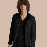 Burberry Leather Piping Corduroy Collar Quilted Jacket