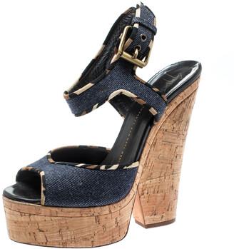 Giuseppe Zanotti Dark Wash Denim Cork Heel Platform Wedge Sandals Size 39.5