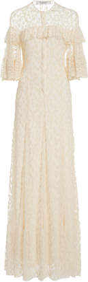 Philosophy di Lorenzo Serafini Ruffled Floral-Emboridered Cotton-Blend Tulle Gown