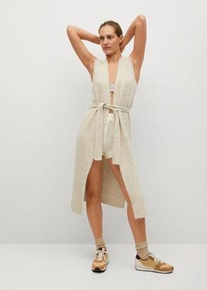 MANGO Belt sleeveless cardigan ecru - XS - Women