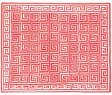 One Kings Lane Custom Greek Key Cotton Throw - Coral
