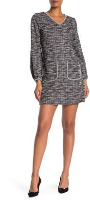 Max Studio Long Sleeve Tweed Knit Dress